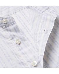 Richard James - Blue Grandad-collar Striped Cotton-voile Shirt for Men - Lyst