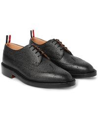 Thom Browne | Black Pebble-grain Leather Longwing Brogues for Men | Lyst