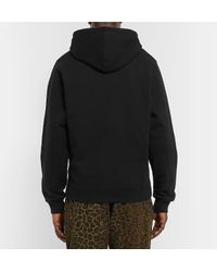 Stussy - Black Logo-embroidered Fleece-back Cotton-blend Jersey Hoodie for Men - Lyst