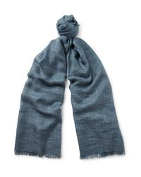 Loro Piana Blue Brina Mélange Cashmere And Silk-blend Scarf for men