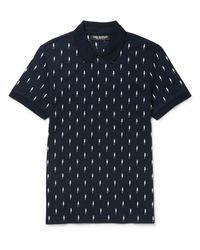 Neil Barrett Blue - Embroidered Lightning Bolt Polo Shirt - Men - Cotton - S for men