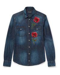 Dolce & Gabbana Blue - Embroidered Detail Denim Shirt - Men - Cotton - 43 for men