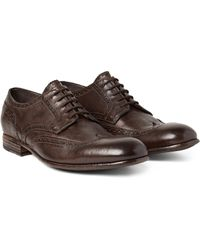Alexander McQueen Brown Washed Leather Oxford Brogue for men