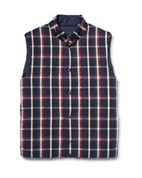 Aspesi Blue Quilted Checked Cotton Gilet for men