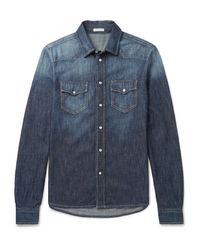 Tomas Maier Blue Slim-fit Washed-denim Western Shirt for men