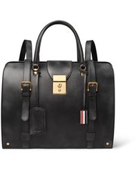 Thom Browne - Black Convertible Burnished-leather Backpack for Men - Lyst