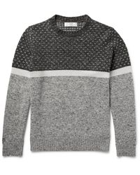 Brunello Cucinelli Gray Marled Cashmere Chunky Turtleneck Sweater for men