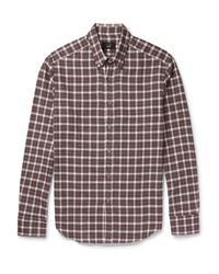 Dunhill Multicolor Slim-fit Button-down Collar Checked Cotton-flannel Shirt for men