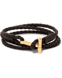 Tom Ford | Brown Woven Leather And Gold-plated Wrap Bracelet for Men | Lyst
