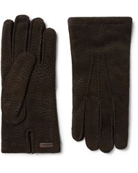 Prada | Brown Cashmere-lined Textured-suede Gloves for Men | Lyst
