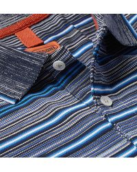 Missoni Blue Striped Knitted Cotton Polo Shirt for men
