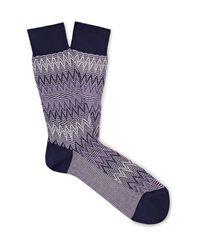 Missoni Purple Crochet-knit Cotton-blend Socks for men