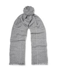 Loro Piana - Gray Checked Cashmere Scarf for Men - Lyst