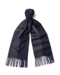 Begg & Co Blue Arran Two-tone Cashmere Scarf for men