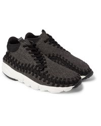 Nike Black Lab Air Footscape Tweed, Leather And Woven Mesh Sneakers for men