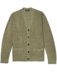 Polo Ralph Lauren Green Waffle-knit Linen And Silk-blend Cardigan for men