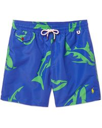 Polo Ralph Lauren | Blue Traveler Mid-length Shark-print Swim Shorts for Men | Lyst