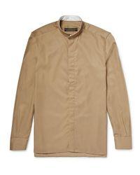 Freemans Sporting Club Brown Grandad-collar Linen Shirt for men