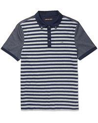 Michael Kors | Blue Slim-fit Striped Cotton-jersey Polo Shirt for Men | Lyst