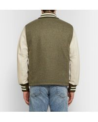 Rag & Bone Green + Golden Bear Leather-panelled Wool Bomber Jacket for men