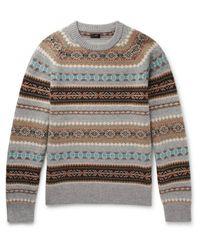 J.Crew Gray Alta Fair Isle Wool Sweater for men