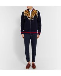 Gucci Blue Highlands Slim-fit Webbing-trimmed Cotton-drill Trousers for men