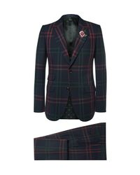 Gucci | Blue Slim-fit Checked Wool Suit for Men | Lyst