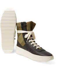 Fear Of God Black Jungle Leather And Canvas High-top Sneakers for men
