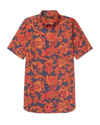 Alexander McQueen | Red Button-down Collar Paisley-print Cotton Shirt for Men | Lyst