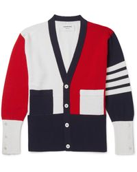 Thom Browne | Red Colour-block Cashmere Cardigan for Men | Lyst