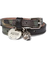 Alexander McQueen | Black Camouflage-print Leather, Silver-tone And Swarovski Crystal Wrap Bracelet for Men | Lyst