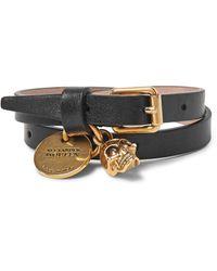 Alexander McQueen   Black Leather And Burnished Gold-tone Skull Wrap Bracelet for Men   Lyst