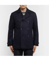 CONNOLLY Blue Slim-fit Cashmere Peacoat for men