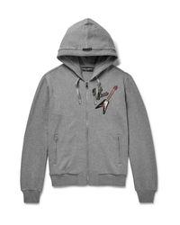 Dolce & Gabbana Gray Appliquéd Cotton-jersey Zip-up Hoodie for men