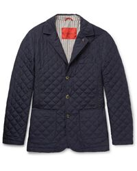 Isaia Blue Quilted Checked Shell Jacket for men