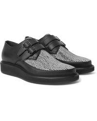 Lanvin Black Printed Leather Monk-strap Shoes for men