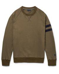 Lanvin Green Grosgrain-trimmed Distressed Cotton-jersey Sweatshirt for men