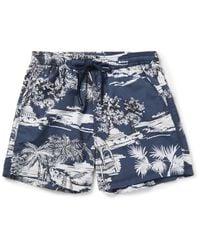 Etro Blue Slim-fit Short-length Printed Swim Shorts for men