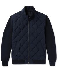Ermenegildo Zegna Blue Leather-trimmed Quilted Wool And Wool-blend Down Jacket for men