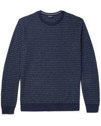 Ermenegildo Zegna Blue Striped Textured Cotton And Silk-blend Sweater for men