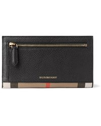 Burberry Black Checked Twill-trimmed Full-grain Leather Travel Wallet for men