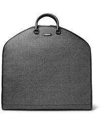 Ermenegildo Zegna | Gray Leather-trimmed Herringbone Coated-canvas Garment Bag for Men | Lyst