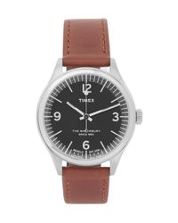 Timex | Brown Waterbury Stainless Steel And Leather Watch for Men | Lyst