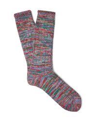 Anonymous Ism Blue Mélange Cotton-blend Socks for men