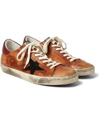 Golden Goose Deluxe Brand Brown Superstar Distressed Leather And Suede Sneakers for men