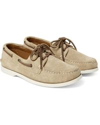 Quoddy Natural Downeast Suede Boat Shoes for men