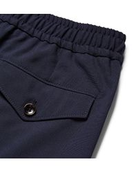 Gucci Blue Charcoal Cropped Wool Drawstring Trousers for men