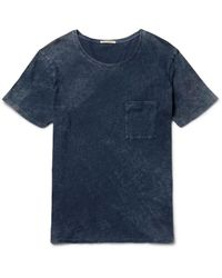 Nudie Jeans | Blue Ove Marbled Indigo-dyed Organic Cotton-jersey T-shirt for Men | Lyst