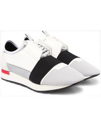 Balenciaga White Match Leather, Textured-suede, Neoprene And Mesh Sneakers for men