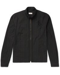 Dries Van Noten Black Embroidered Pinstriped Cotton Jacket for men